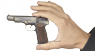 Stechkin APS Pistol, M1951 miniature model decorated with gold ornament in hand
