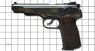 Stechkin APS Pistol, M1951 miniature model decorated with gold ornament on scale grid