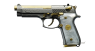 Beretta 92 Pistol miniature model, damask steel, gold-plated with pearl grips