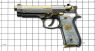 Beretta 92 Pistol miniature model, damask steel, gold-plated with pearl grips on scale grid