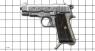 Beretta Pistol, M1934 decorated miniature model on scale grid