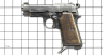 Beretta Pistol, M1934 miniature model on scale grid