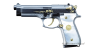 Beretta 92 Pistol miniature model, damask steel, gold-plated with pearl