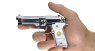Beretta 92 Pistol miniature model, damask steel, gold-plated with pearl in hand
