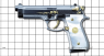 Beretta 92 Pistol miniature model, damask steel, gold-plated with pearl on scale grid