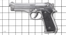 Beretta 92 F Pistol, M1976 miniature model on scale grid