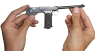 Borchardt Pistol, M1893 miniature model in hand