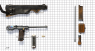Borchardt Pistol, M1893 miniature model on scale grid