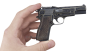 Ramp-Type-Sight Browning Pistol, M1935 decorated miniature model in hand
