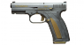 Caracal F pistol miniature model, damask steel, gold