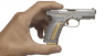 Caracal F pistol miniature model, damask steel, gold in hand