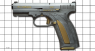 Caracal F pistol miniature model, damask steel, gold  on scale grid