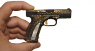 Caracal F pistol miniature model with gold ornament in hand