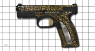 Caracal F pistol miniature model with gold ornament on scale grid