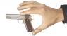 Colt М1911 А1 Pistol, damask steel, gold, miniature model in hand