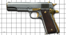 Colt М1911 А1 Pistol, damask steel, gold, miniature model on scale grid