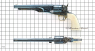 Colt Army Revolver with ivory grip plates, M1860 miniature model on scale grid