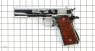 Colt М1911 A1 Pistol, nickel-plated miniature model on scale grid