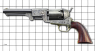 The Third Model Colt Dragoon Revolver M1848 miniature model on scale grid