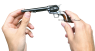 Colt Frontier Revolver, M1875 miniature model in hand
