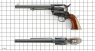 Colt Frontier Revolver, M1875 miniature model on scale grid