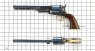 The Second Model Colt Navy Revolver miniature model on scale grid