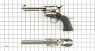Colt Scout Revolver, short-barreled nickel-plated, M1873 miniature model on scale grid