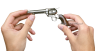 Colt Scout Revolver, nickel-plated, M1873 miniature model in hand