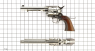 Colt Scout Revolver, nickel-plated, M1873 miniature model on scale grid