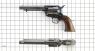 Colt Scout Revolver, M1873 miniature model on scale grid