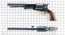 Colt Walker Revolver, M1847 miniature model on scale grid