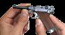 Borchardt-Luger Pistol Parabellum, M1908 miniature model in hand