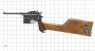 Mauser Pistol, M1916 miniature model on scale grid