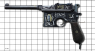 Mauser C-96 Pistol, decorated miniature model on scale grid