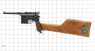 Mauser C-96 Pistol, M1896 miniature model on scale grid