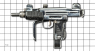 Submachine Gun Mini Uzi, M1981 miniature model on scale grid