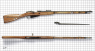 Model 1891/1930 Mosin-Nagant Rifle miniature model on scale grid