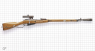 Mosin-Nagant Rifle 1891/1930 miniature model with a scope and silencer on scale grid