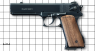 Pernatch Aautomatic Pistol miniature model on scale grid