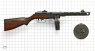 Shpagin Submachine Gun, M1941 miniature model on scale grid