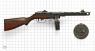 Пистолет-пулемёт Шпагина миниатюрная модель на масштабной сетке