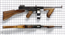Thompson Submachine Gun with a drum magazine, M1921 miniature model on scale grid