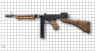 Thompson Submachine Gun  with a stick magazine, M1928А1 miniature model on scale grid