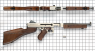 Navy  Thompson Submachine Gun, M1942 miniature model on scale grid