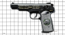 Stechkin APS Pistol, M1951 miniature model decorated with diamonds on scale grid