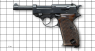 Walter Р-38 Pistol, M1938 miniature model on scale grid